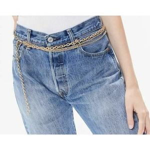 Urban Outfitters Triple Layered Chain Belt Gold ML